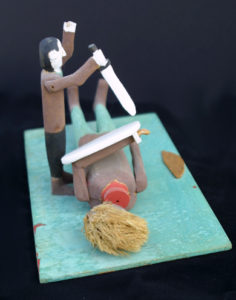 """""""David and Goliath"""" c. 1986 by Fred Webster acrylic on carved wood 7.5"""" x 11"""" x 6.5"""" $1200 #12662"""