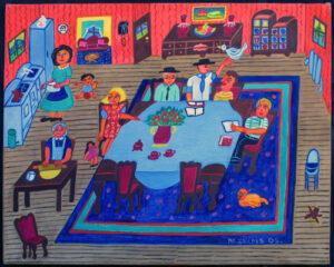 """""""Kaporus"""" dated 2005 by Malcah Zeldis oil on canvas 16″ x 20″ unframed $10000 #12796"""