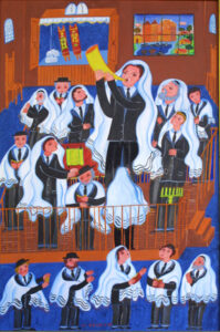"""""""Blowing the Shofar""""  by Malcah Zeldis oil on canvas 21″ x 30″ framed in 2"""" gold ornate frame  $36000 #12797"""