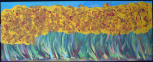 """Mama's Flowers"" by Woodie Long acrylic on wood construction 24″ x 61″ x 1.5"" $1000 #12838"