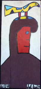 """Bird Man"" dated 6-13-02 by Joe Light oil paint on wood 28.5"" x 12 5/8"" unframed $1100 #12867"