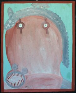 """Fierce Self Portrait"" c. 1985 by Mose Tolliver house paint on wood 27 3/8"" x 22.5"" $2400 #12870"