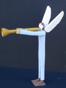 """Gabriel Blow Your Horn"" c. 1988 by Fred Webster unsigned carved, painted wood 14"" x 3.5"" x 9.5"" $500 #12847"