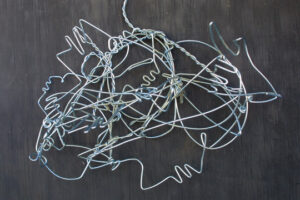 """Untitled (Hands and Faces) c. 1989 by Lonnie Holley aluminum wire 20"""" x 24.5"""" x 11"""" $3200 #12873"""