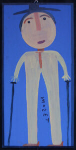 """Self Portrait""  dated on back July 7, 1995 by Mose Tolliver  house paint on wood  24"" x 12""  $1800   #12894"