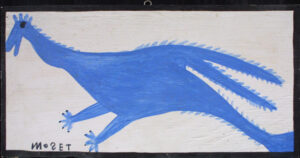"""""""Blue Bird"""" c. 1995 by Mose Tolliver  house paint on wood 12.25"""" x 23.75""""  $1200  #12897"""