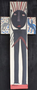 """""""Black Jesus on the Cross"""" c. 1983  by Mose Tolliver house paint on wood construction  40"""" x 16.25""""   $1800  #12933"""