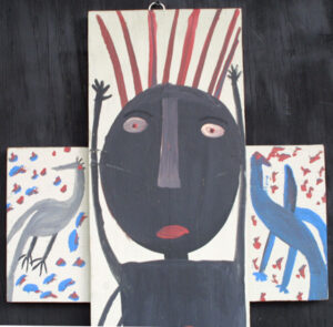 """detail  """"Black Jesus on the Cross"""" c. 1983  by Mose Tolliver house paint on wood construction  40"""" x 16.25""""   $1800  #12933"""