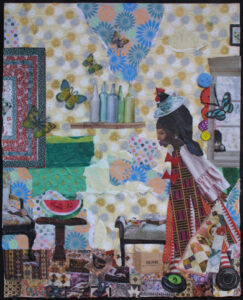 """""""Leatha's House"""" 2020 by Della Wells gound object collage on canvas board 20"""" x 16"""" in black shadowbox frame $1375 #12935"""