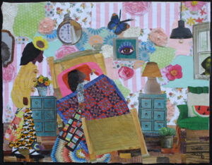 """""""Wake Up Little Sista - Morning Has Come"""" 2020 by Della Wells found object collage on canvas board 14"""" x 18"""" in black shadowbox frame $875 #12936"""