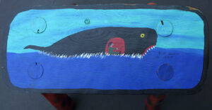 """""""Jonah and the Whale Stool"""" dated 1997 by Jim Lewis paint on rustic solid wood constructed stool 12.25"""" x 16 3/8"""" x 7.25"""" $250 #12927"""