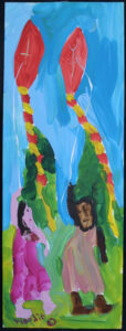 """Girls Flying Kites"" by Woodie Long acrylic on paper 17.5"" x 6 3/8"" black frame, white 8 ply mat $600 #12937"