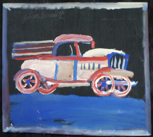 """Red, White, and Blue, Headin' Somewhere Fast"" by Jimmie Lee Sudduth paint, mud on wood 21.5"" x 23.75"" in black shadowbox $1575 #12938"