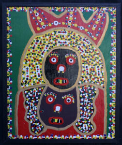 """""""King and Queen"""" by Richard Burnside enamel on plywood 23 1/8"""" x 19"""" in black wooden frame $900 #12939"""