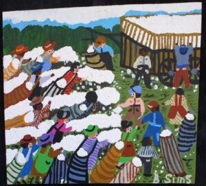 """Cotton Field"" by Bernice Sims acrylic on masonite 23.5"" x 26 3/8"" x .5"" unframed $1600 #12940"