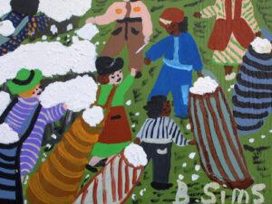 "detail ""Cotton Field"" by Bernice Sims acrylic on masonite 23.5"" x 26 3/8"" x .5"" unframed $1600 #12940"
