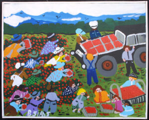 """Strawberry Patch"" by Bernice Sims 16"" x 20"" x 1"" acrylic on canvas in white lattice frame $1300 #12942"
