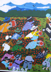 """detail """"Strawberry Patch"""" by Bernice Sims 16"""" x 20"""" x 1"""" acrylic on canvas in white lattice frame $1300 #12942"""