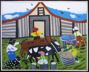 """Milking and Feeding the Cow"" by Bernice Sims 16"" x 19 7/8"" acrylic on canvas in white lattice frame $1100 #12943"