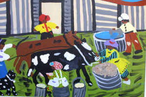 """detail """"Milking and Feeding the Cow"""" by Bernice Sims 16"""" x 19 7/8"""" acrylic on canvas in white lattice frame $1100 #12943"""