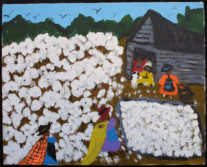 """Cotton Picking Time"" by Bernice Sims 16"" x 20"" acrylic on masonite in simple black frame $910 #12944"