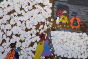 "detail ""Cotton Picking Time"" by Bernice Sims 16"" x 20"" acrylic on masonite in simple black frame $910 #12944"