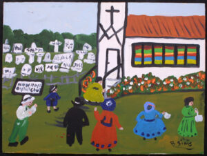 """Sunday at New Hope Baptist Church"" by Bernice Sims 18"" x 24"" acrylic on masonite in simple black frame $1275 #12945"
