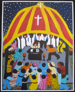 """Tent Revival""  2003 by Bernice Sims  acrylic on canvas in white lattice frame 20"" x 16"" $1275     #12946"