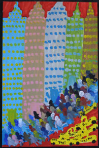 """New York City"" (Red) by Woodie Long acrylic on paper 35"" x 23"" unframed $2000 #12947"
