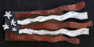 """Flag"" by Ab the Flagman  acrylic on assembled wood  7.5"" x 14"" $325  #11401"