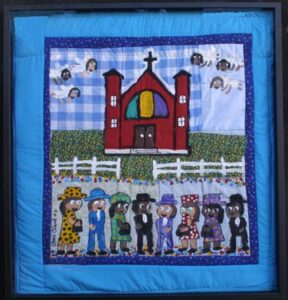 """""""The Church"""" dated 2006 by Chris Clark paint on hand quilted cloth 32"""" x 30"""" enclosed in black shadowbox $1000 #12547"""