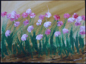 """""""Mama's Flowers"""" dated 1988 by Woodie Long  acrylic on paper  18"""" x 24"""" unframed  $700  #12952"""