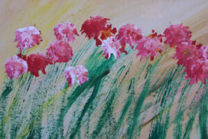 """""""Mama's Flowers"""" c. 1988 by Woodie Long acrylic on paper 18"""" x 24"""" $700 unframed #12953"""