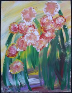 """""""Mama's Flowers"""" c. 1994 acrylic on paper 24"""" x 18"""" in white 8 ply mat with black frame $700 #12954"""