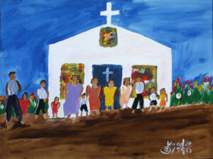 """""""Sunday At Church"""" dated 1990 by Woodie Long acrylic on paper 18"""" x 24"""" unframed $1000 #12962"""