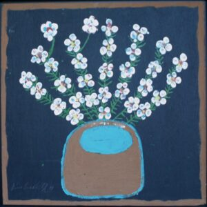 """""""Flowers"""" by Jimmie Lee Sudduth mud, paint on wood 24"""" x 23.5"""" in black shadowbox frame $3000 #13007"""