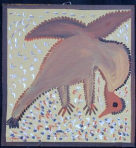 """""""Pico Bird Eating"""" c. 1982 by Mose Tollliver oil paint on masonite 16.25"""" x 15.25"""" $3000 #13015"""