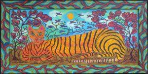 """Under the Afternoon Sun"" 2021 by Sarah Rakes acrylic on wood in artist's handmade frame 17.75"" x 35.75"" $1200 #13017"