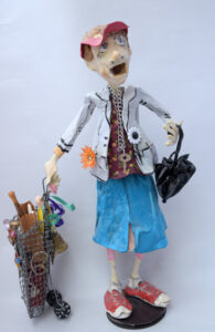 """""""Bag Lady"""" by Hope Atkinson (from Archetype series) acrylic on papier mache with found objects 15"""" x 10"""" x 7"""" $1200 #12734"""