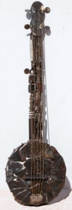 """""""Banjo"""" by Ray Bellew welded found metals 40.25"""" x 11""""x 3"""" $2000 #12773"""