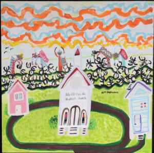 """""""Granddaddy's Church"""" By Ruth Robinson acrylic on wood unframed 24""""x24"""" $800 #13004"""