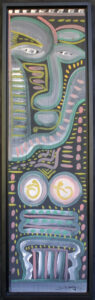 """""""Mother's Mask"""" dated 1987 by Lonnie Holley acrylic paint on wood 38"""" x 10.25"""" in black shadowbox frame $2800 #13006"""