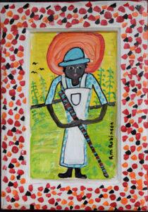 """""""Mamie"""" Ruth Robinson acrylic on wood unframed 14""""x10"""" $400 #13008"""