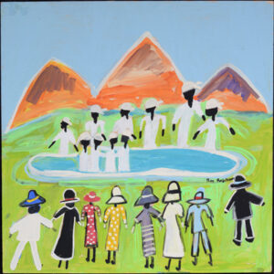 """""""Next Time Baptize Me Near the Mountains"""" by Ruth Robinson acrylic on wood unframed 24""""x24"""" $2400 #13010"""