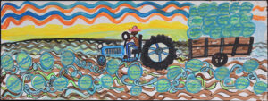 """""""Daddy's Forth of July"""" by Ruth Robinson acrylic on wood unframed 14 1/4""""x38.5"""" $2400 #13011"""