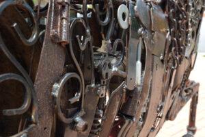 """Fancy"" 2021 by Ray Bellew  welded found metals   60"" x 71"" x 10"" $19,500   #13014"