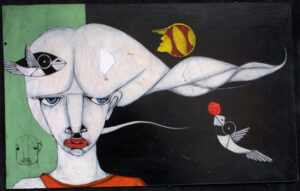 """""""The Maid"""" by Michael Banks acrylic, mixed media on wood 20"""" x 32"""" $700 #13020"""