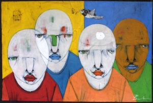 """""""Culture"""" by Michael Banks acrylic, mixed media on wood unframed 32.25"""" x 48"""" $2200"""