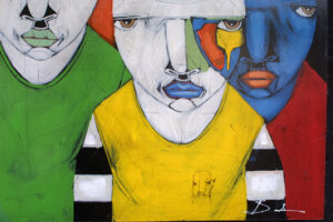 """""""Religion"""" by Michael Banks acrylic, mixed media on wood unframed 32.25"""" x 48"""" $2200 #13026"""