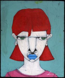 """Redbone"" by Michael Banks acrylic, mixed media on wood unframed 24"" x 20"" $500 #13028"